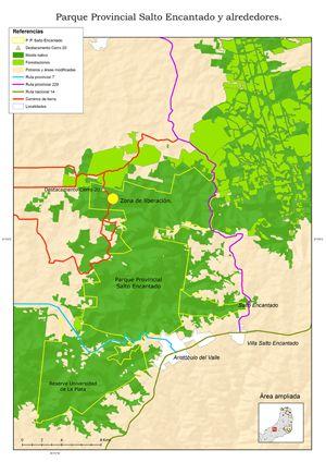 La zona donde se liberarán los primeros ejemplares, en el Parque Provincial Salto Encantado, provincia de Misiones.