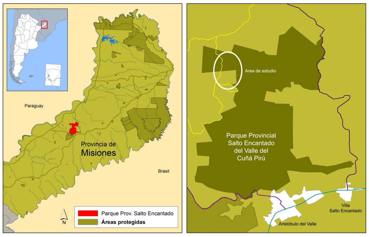 Ubicación geográfica del Parque Provincial Salto Encantado del Valle del Cuñá Pirú y del área donde se llevó a cabo el estudio.